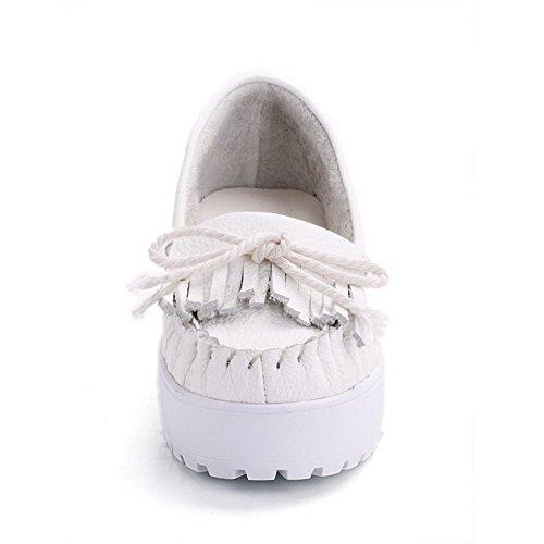 Scarpe Da Donna Tacco Basso Con Punta Arrotondata, Amoonyfashion, Di Colore Bianco Solido E Annodato