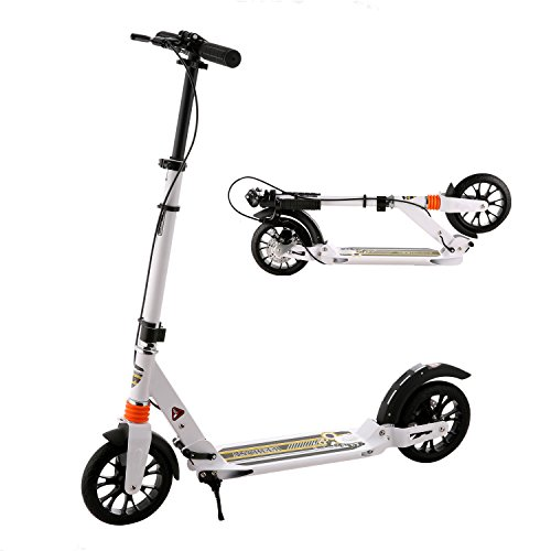 Ancheer Adult Scooter with Handbrake and Dual Suspension Shocks | 2 Large Wheels Commuter Scooter with Ultra-Lightweight Easy Fold-n-Carry Design, 220 lbs Weight Limit (Big Wheel Brake)