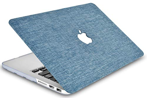 """KECC Laptop Case for MacBook Air 13"""" w/Keyboard Cover Plastic Hard Shell Case A1466/A1369 2 in 1 Bundle (Blue Fabric)"""