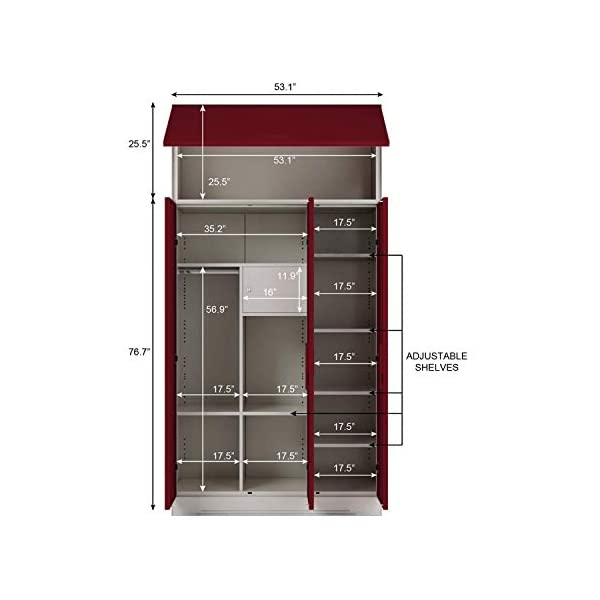 GODREJ INTERIO Slimline 3 Door Steel Almirah with Locker, Over Head Unit (Carmine Red, Textured Finish) 2021 July Dimensions W x H x D (cm): 134.9 x 260 x 50.7 / Primary Material: Mild Steel / Delivery Condition :Knock Down / Free Assembly Provided Sleek Design:The furniture with which you furnish your home reflects your style and sensibilities. The sleek Slimline Wardrobe adds style points to your bedroom. Durable CRCA Steel Construct :CRCA Steel has stood the test of time and durability. This is why the Slimline Wardrobe excels in both, giving a piece that is strong and long-lasting.