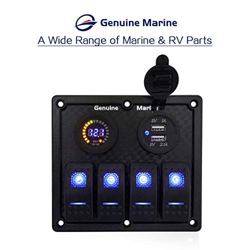 4/6/8 Gang 12V/24V Contura Rocker Switch Panel for RV Marine ... on