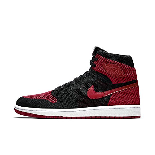 (Jordan Nike Mens Air 1 Retro Hi Flyknit Black/Varsity Red Flyknit Size 12)
