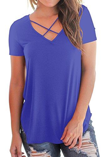 Criss Cross V-Neck Tops Women's Short Sleeve Casual Tee Shirts Blue M