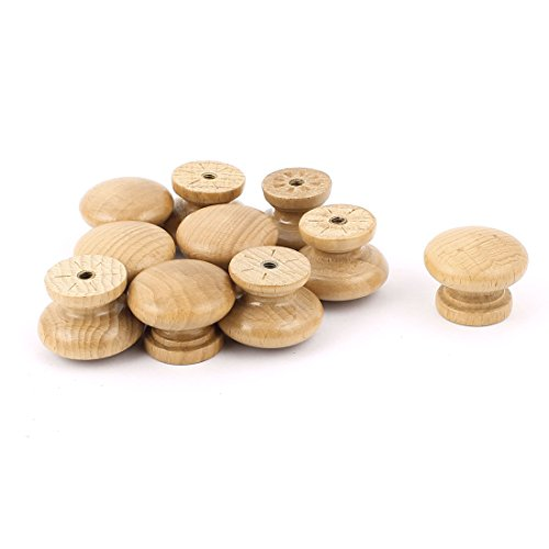 uxcell Wooden Round Cabinet Cupboard Closet Drawer Pull Knob