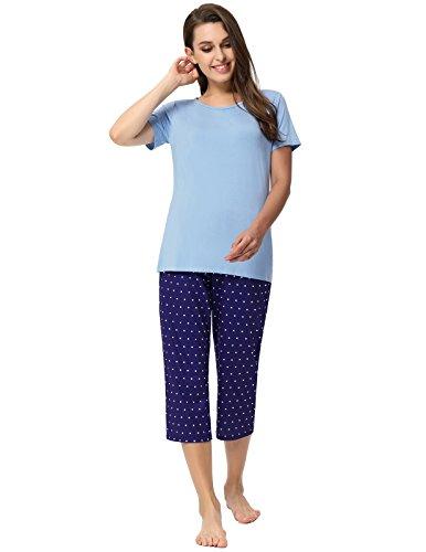 Women's Summer Pajamas Cotton Knit Capri Pants Lounge Sets Light Blue Size S ()