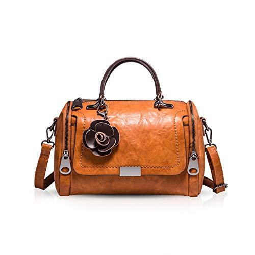 NICOLE & DORIS Damen handtaschen Leder Damen Schultertasche Henkeltasche Umhängetaschen für Damen Top Griff Taschen Braun