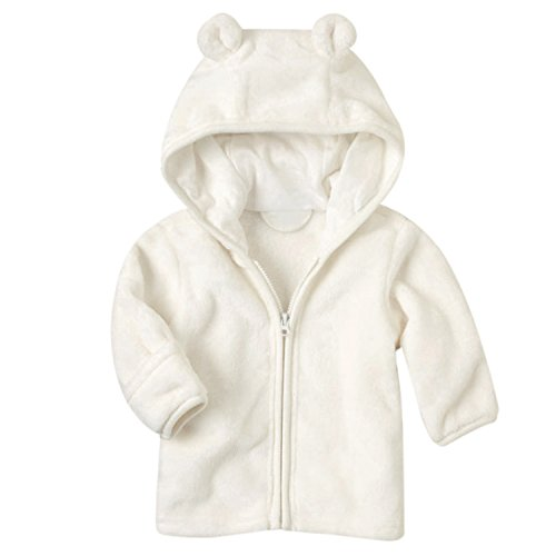 XWDA Baby Girl' Solid Micro Fleece Jacket With Lined Hood (9-12 Months,White) Breathable Fleece Reversible Jacket