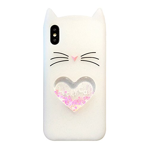 UnnFiko Liquid Case for iPhone 7/iPhone 8, 3D Cute Cat Quicksand Flowing Floating Bling Glitter Sparkle Protective Girls Women Case (White, iPhone 7/8)