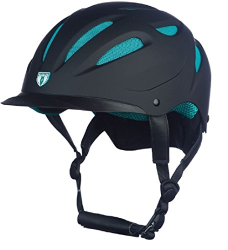 Tipperary Sportage Hybrid Western Riding Helmet Low Profile Horse Safety Black and Teal (Small)