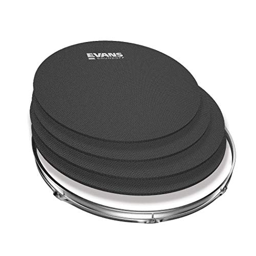 SoundOff by Evans Drum Mute Pak (4pc) - Provides 95% Volume Reduction Without Drastically Altering Drums' Feel - Quietly Practice Directly on Drum Sets - For Standard-Sized Kits 12, 13, 14 (Snare), 16 (Renewed)