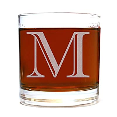 Etched Monogram 10.5oz Rocks Old Fashioned Lowball Glass for Whiskey Scotch Bourbon