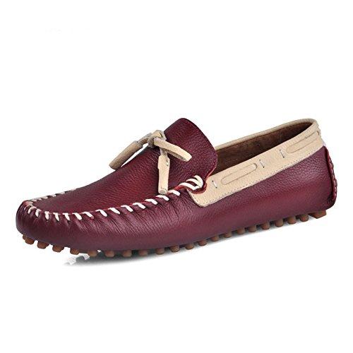 Zapato De Conducción De Cuero Genuino De Santimon-Hombres Para Hombre Mocasines De Horsebit Mocasín Doug De Zapatos De Cuero Rojo