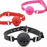 Fetish Extreme Full Silicone Breathable Ball Gag,Bondage Open Mouth Gags,Adult Sex Toys for Couple Adult Game Size S M L L red Gag