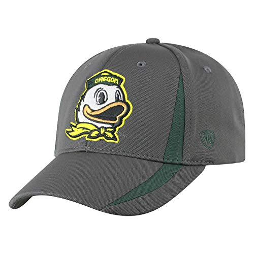 Top of the World Oregon Ducks Men's Fitted Hat Icon, Charcoal, One Fit