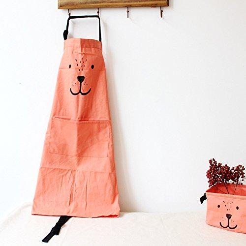 9OVE, Apron, Home Kitchen Tool, Parent-Child Cartoon Cookers Animal Print Cotton Linen - Orange Adult ()