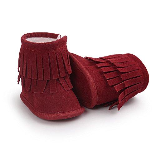 Bebé Niños Niñas Suave Suela botas de borla rosa rosa Talla:6-12 meses Rosso
