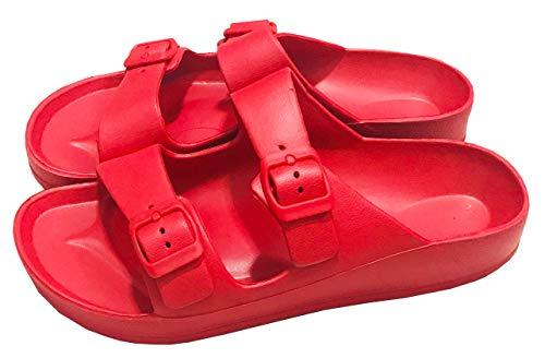 (Men's Women's Comfort Slides Double Buckle Adjustable EVA Flat Sandals Flip Flops Slippers (7 Women, Red))