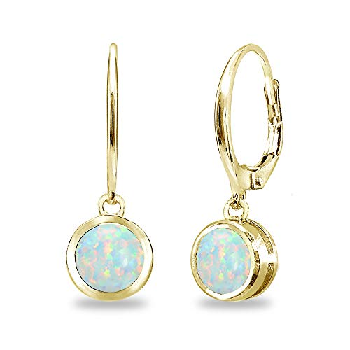 (Gold Flash Sterling Silver Simulated White Opal 6mm Round Bezel-Set Dangle Leverback Earrings for Women)