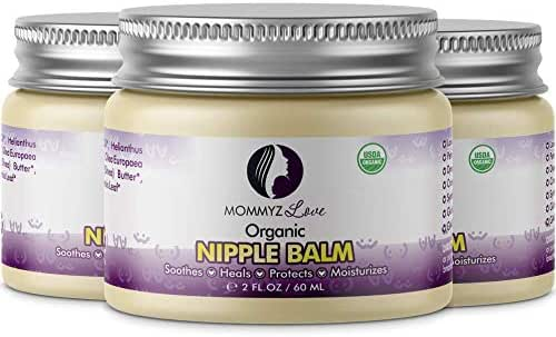 Best Nipple Cream for Breastfeeding Relief (2 oz) - Provides Immediate Relief To Sore, Dry And Cracked Nipples Even After A Single Use (3 Jars)
