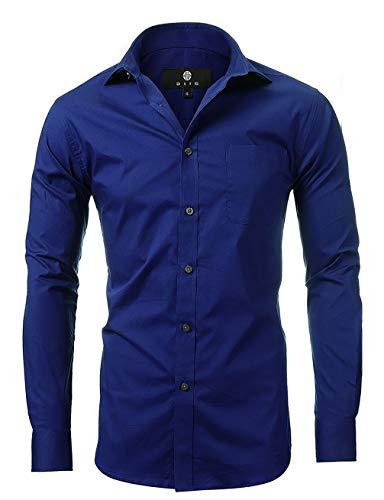 (diig Men Slim Fit Long Sleeve Dress Shirt, Blue 14.5)