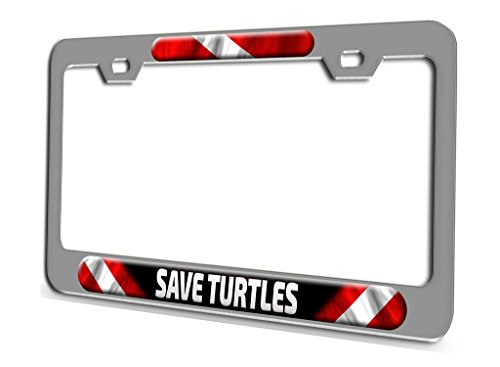 SAVE TURTLES Scuba Diving Chrome Steel License Plate Frame 3D Style