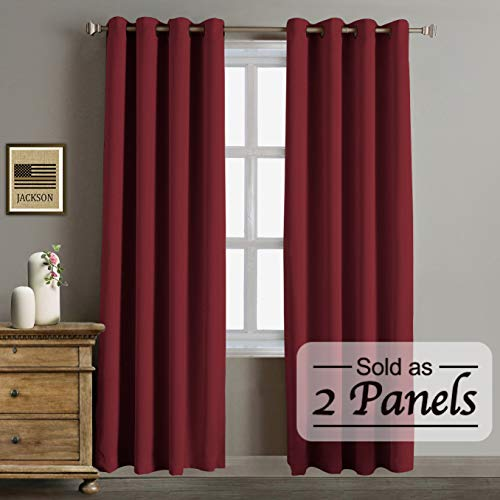 Grommet Blackout Curtains - Blackout Thermal Insulated Curtains-Antique Bronze Grommet Top for Bedroom or Living Room,Grommet Curtain,Wide 52 by Length 84 inches,Burgundy,2 Pieces Set