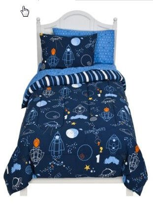Well known Amazon.com: Glow In The Dark Space Rocket Ship Twin Comforter Set  WR47