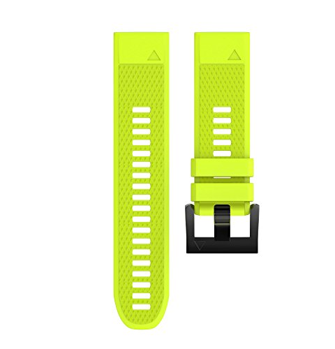 Wearable4U Garmin Fenix 5 Band 22mm Quick Release Easy Fit Silicone Replacement Watch Strap for Garmin Fenix 5 Sapphire, Quatix 5, Quatix 5 Sapphire, Forerunner 935, Approach S60 (Lime)
