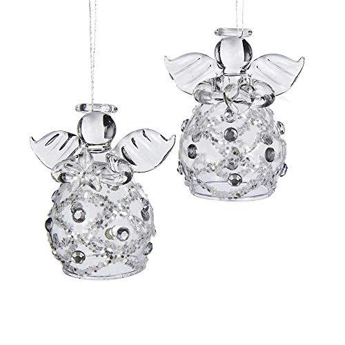 Kurt Adler Clear Glass Angel Ornament, 2.2-Inch, Set of 4 ()
