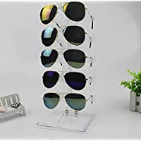 Meoly-AU Acrylic 5 Pair Sunglasses Display Rack Holder Glasses Sale Show Eyewear Organizer Display Stand