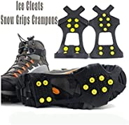 Funiup Ice Cleats, Ice & Snow Grips, Traction Cleats GrippNon-Slip Over Shoe/Boot Rubber Spikes Crampons Anti Easy Slip- Gri