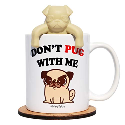 Funny Mug with a Pug Tea Infuser and Coaster Bundle - Don't Pug with Me - Lovable 11 ounce Pug Mug for any Special Occasions. HD Quality Print Mug. Laugh with Friends, Family and Colleagues. (Coffee Cups Hd Design)