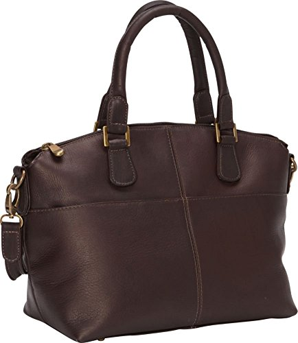 LeDonne Women's Leather Esperanto Satchel, Cafe, Medium by LeDonne