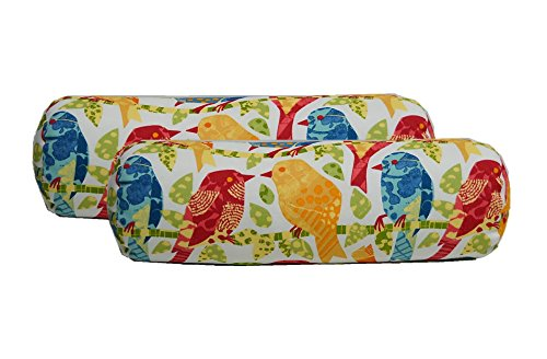 (Set of 2 - Indoor / Outdoor Bolster / Neckroll Decorative Pillows - White, Red, Blue, Green White Ash Hill Garden Birds)