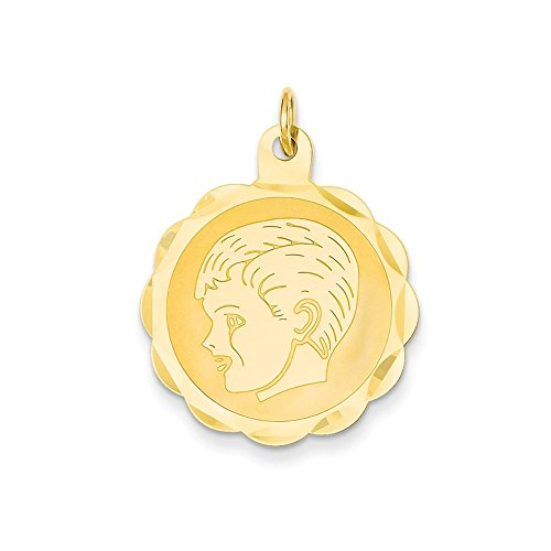 Scalloped Disc Charm - 14K Yellow Gold Boy Head on .011 Gauge Engravable Scalloped Disc Charm Pendant