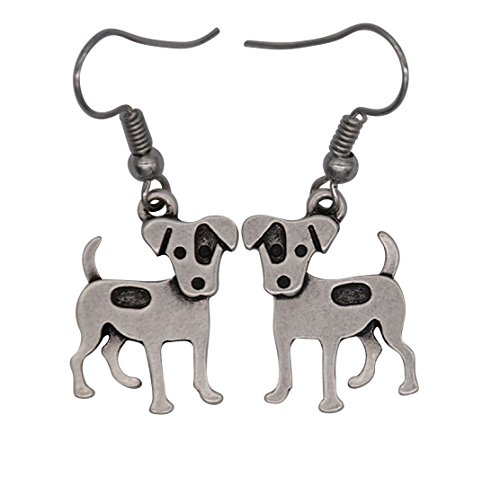 Cute Vintage Jack Russell Terrier Dog Drop Earrings