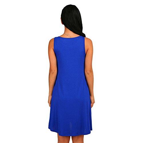 Possec Mujeres Sin Mangas Plana Simple Pocket T-shirt Swing Loose Vestidos Azul