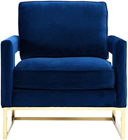 TOV Furniture The Avery Collection Modern Style Living Room Den Leather Upholstered Armchair with Gold Legs, Navy