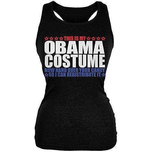 Old Glory Halloween Funny Obama Costume Black Juniors Soft Tank Top - -