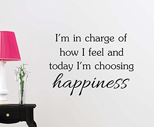 I'm in charge of how I feel and today I'm choosing happiness sticker nursery vinyl saying lettering wall art inspirational sign wall quote decor by Simple Expressions Arts