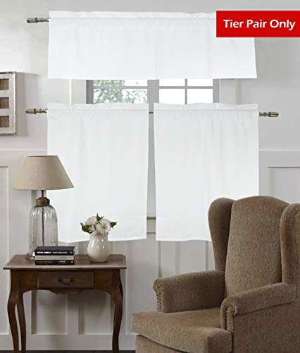 Tiny Break 100% Cotton Room Darkening Window Rod Pocket Drapes Tier Curtains for Kitchen Living Room (28W by 36L inches, White, 1 Pair) (Cotton Window)