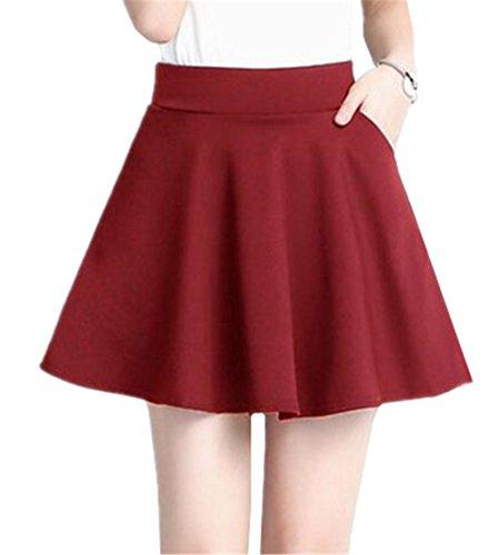 Aoliait Femme Jupe Mini Couleur Unie Jupe A-Line Slim Fit Jupe Plisse Basique Femelle Jupe Court Taille Haute Jupe Red2