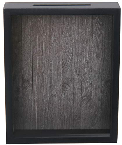 Shadow Box Display Case  Top Loading Black Wood Frame - Showcase Bottle Caps, Shells, Ticket Stubs, Airline Tickets, and More (Charcoal)