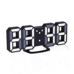 3D Digital Alarm Clock+ Charging Plugs,Modern Night Light Clock, Best Decorative LED Number Time Clock for The Wall, Table, Bedside, Desk. Modern Unique Design Alarm Clock (White/Black)
