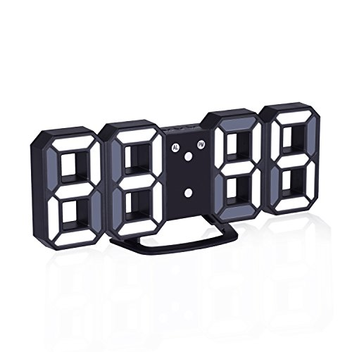 EVILTO 3D Digital Alarm Clock+ Charging Plugs,Modern Night Light Clock, Best Decorative LED Number Time Clock for The Wall, Table, Bedside, Desk. Modern Unique Design Alarm Clock (White/Black)