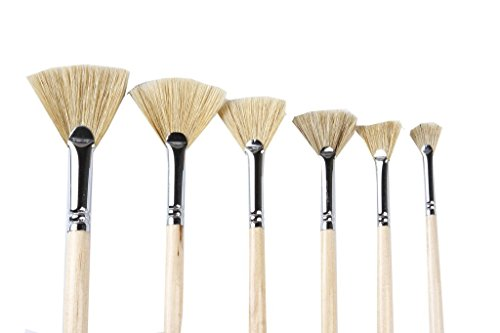 Artist Paint Brushes Oil Professional Fan Brush Hog Hair Paintbrush Set-Long Handle. (6pcs Fan Oil Paint -
