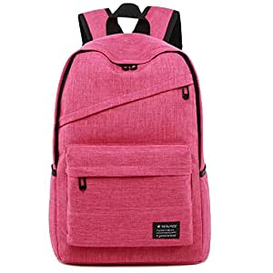 CHENDX Handbags New Men's Women's Unisex Canvas Solid Color Backpack Travel Outdoor Large Capacity Backpack (Color : Rose red Color, Size : 43cm*28cm*13cm)