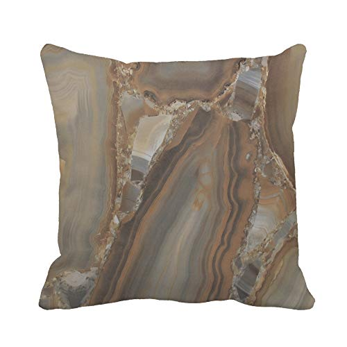 Awowee Throw Pillow Cover Brown Marble of The Stone in Cut Gray Abstract 20x20 Inches Pillowcase Home Decorative Square Pillow Case Cushion Cover