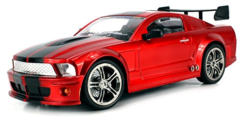SS Racers Mustang GT500 Rechargeable RC Car 1:14 Scale Ready To Run RTR w/ Bright LED Lights, Working Suspension, Steering Wheel Control (Colors May Vary) Mustang Boy Racer
