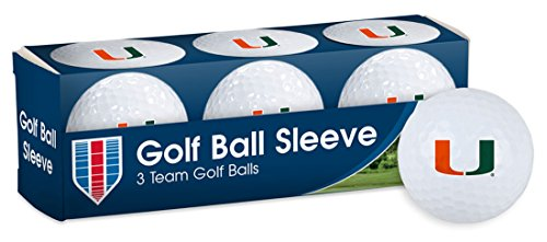 University of Miami Hurricanes Golf Ball Sleeve, pack of 3 individual golf balls (Balls University 3 Golf)